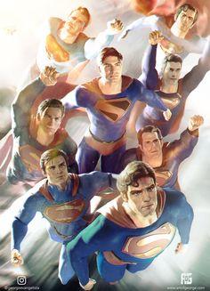 [Fan Art] Supermen of the live action Multiverse! By George Evangelista Arte Do Superman, Mundo Superman, Superman Artwork, Christopher Reeve, Tom Welling, Tyler Hoechlin, Comic Books Art, Comic Art, Dean Cain