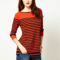 Orange Whistles Sylvie Stripe Jumper In perfect condition. Jumper is crafted from pure cotton. The details include: a fine gauge knit, a boat neckline with a contrast trim, 3/4 length sleeves, a contrast striped design through the body and notch detailing to the hem. The jumper has a regular fit, XS-S. Whistles Sweaters Crew & Scoop Necks