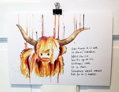 I LOVE me some Highland Coo! ///// The Highland Cow Print by nataliesmillie on Etsy, Watercolor Tips, Watercolor Illustration, Scottish Cow, Highland Cow Art, Cow Tattoo, My Spirit Animal, Cow Print, Paint Party, Animal Paintings