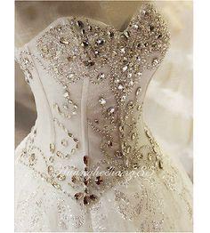Bling-Beading-White-Ivory-Bridal-Ball-Gown-Wedding-Dress-Custom-Size6-8-10-12-14