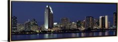 Canvas with Floating Frame entitled Skyscrapers in a city, San Diego, California, Gold