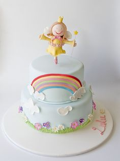 rainbow fairy cake. this is one of the sweetest rainbow cakes I've seen.