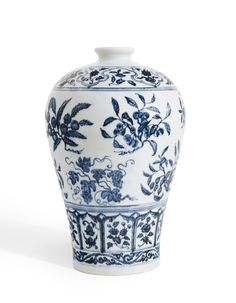 AN OUTSTANDING BLUE AND WHITE VASE WITH FRUIT SPRAYS, MEIPING MING DYNASTY, YONGLE PERIOD