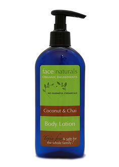 Coconut-Chai Body Lotion - Face Naturals {organic, vegan} I'm OBSESSED - love this lotion. Super creamy and relieves dry skin without a greasy feeling.