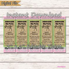 Pink Dinosaur Party Ticket Invite, Digital, Instant Download, SET of 5, EDITABLE Invitation Paleontologist Party DIY Ticket Invitation, Photo Invitations, Digital Invitations, Printable Invitations, Party Printables, Invite, Party Tickets, Dinosaur Party, Printable Designs