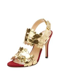 Conceptual Metallic Leather Sandal by Charlotte Olympia at Gilt