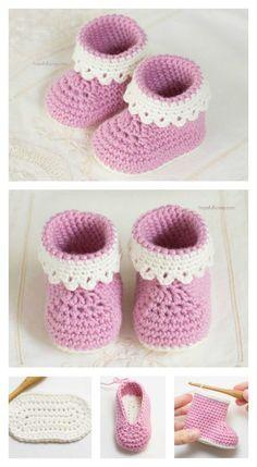Model Pink Lady crochet free baby booties Learn more about babies in Somosmamas. Model Pink Lady crochet free baby booties Learn more about babies in Somosmamas. Crochet Baby Boots, Crochet Bebe, Booties Crochet, Baby Girl Crochet, Crochet Baby Clothes, Crochet Shoes, Crochet Slippers, Crochet For Kids, Free Crochet