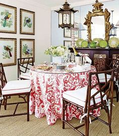 ikat table skirt, pagoda lantern, chippendale chairs
