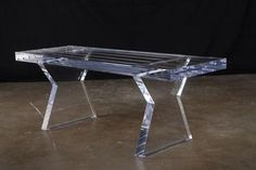 Rectangular Lucite Picnic Style Bench Custom Sizing Available Special Order-4-6 week lead time