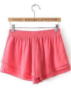 Red Elastic Waist Chiffon Shorts - Sheinside.com