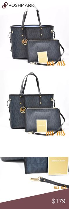 """Michael Kors Baltic blue tote with match pouch 100% Authentic! Always, Guaranteed!  Color:Baltic Blue MK Signature PVC; trim: leather Double handles with 7.5"""" drop Exterior features gold-tone hardware and hanging logo charm Approx: 6 1/2"""" x 10"""" attached zipper pouch can be removed and used as a wristlet 12''bottom -15'' top W X 9.5''""""H X 5.5""""D Michael Kors Bags Totes"""