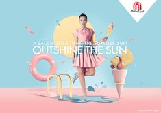 Mall of Egypt Integrated Advert By Leo Burnett: Outshine The Sun Sale Campaign, Summer Campaign, Summer Banner, Illustration, Sale Poster, Advertising Design, Fashion Advertising, Ad Design, Layout Design