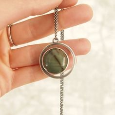 Jasper and Sterling Silver Crescent Necklace - #meritmade jewelry