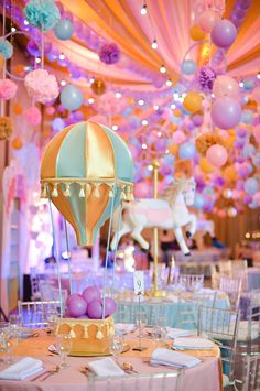 Natalie celebrates her birthday in a chic and stylish carnival bash! Candy Theme Birthday Party, Carousel Birthday Parties, Carousel Party, Carnival Themed Party, Circus Birthday, Birthday Balloons, 1st Birthday Parties, Birthday Decorations, Happy Birthday