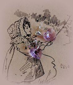 Swarovski Violet Crystal Heart Earrings by RoseCottageVintage, $19.99