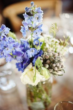 gorgeous blue flower arrangement // photo by Paper Antler // flowers by Rose Red and Lavender