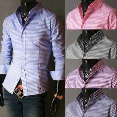 Spring French Plaid Men's Long Sleeve Shirt