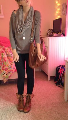 so cute for winter casual some combat boots leggings and a cute comfy sweater with a cute scarf and a brown school bag