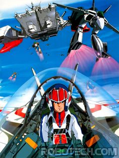 """Dark Horizons reports that Spider-Man himself, Tobey Maguire is producing """"Robotech"""" for Warner Bros. Warner hopes that Robotech will, of course, become a Mecha Anime, Sci Fi Anime, L Anime, Anime Art, Robotech Anime, Robotech Macross, Macross Valkyrie, Super Robot, 80 Cartoons"""