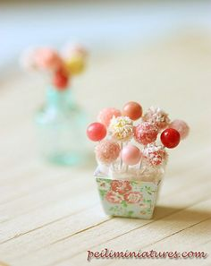 Dollhouse Miniature Cake Pops in 1/12 scale. They look delicious! I'm sure the dolls will love them!