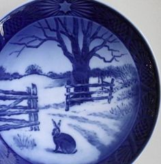 Hare In Winter Plate Royal Copenhagen Denmark Vintage by gazaboo