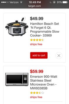 A crockpot for $50  And a microwave for $60