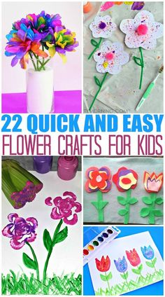 Flower craft ideas for kids. Spring crafts for kids that are fun for Easter too! TheMomCreative.com #springcraft #flowercraft #kidscraft #craft #forkids #flowers #easter #eastercraft
