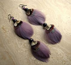 Feather Earrings  Ethereal Purple Goose by peacefrogdesigns, $24.00 Feather Earrings, Drop Earrings, Ethereal, Tassel Necklace, Beading, Trending Outfits, Unique Jewelry, Handmade Gifts, Purple