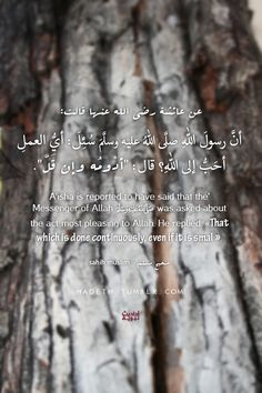 """hadeth: عن عائشة رضي الله عنها: أنَّ رسولَ اللهِ صلَّى اللهُ عليه وسلَّمَ سُئِلَ : أيُّ العملِ أحَبُّ إلى اللهِ ؟ قال """" أدْومُه وإن قَلَّ """" . صحيح مسلم 'A'isha is reported to have said that the Messenger of Allah (ﷺ) was asked about the act most pleasing to Allah. He replied: """"That which is done continuously, even if it is small"""". Sahih Muslim 782 b In-book reference : Book 6, Hadith 256"""