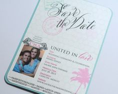 Planning a wedding in a warm destination?  Send these passport style Save the Dates to guests battling cold weather!
