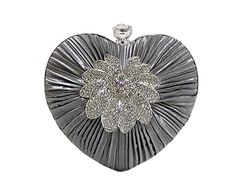 SILVER GREY SATIN HEART CLUTCH BAG WITH DIAMANTE DESIGN, £11.00