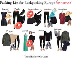 This packing list for Europe shows you travel wardrobe and outfit ideas for different cities in the Summer