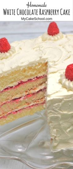 Amazing White Chocolate Raspberry Cake Recipe from scratch! Homemade white chocolate cake layers with a flavorful raspberry filling and White Chocolate Buttercream Frosting! YUM! via @mycakeschool