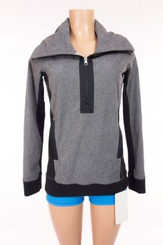 LULULEMON New Post Chaturanga Pullover 4 S Small Black Gray Fleece Sweater NWT…