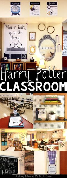 Harry Potter Classroom Inspiration, Harry Potter posters, Harry Potter decorations - New Deko Sites Harry Potter Library, Harry Potter Classes, Décoration Harry Potter, Harry Potter Classroom, Harry Potter Poster, Harry Potter Display, Classroom Decor Themes, Classroom Design, Classroom Organization