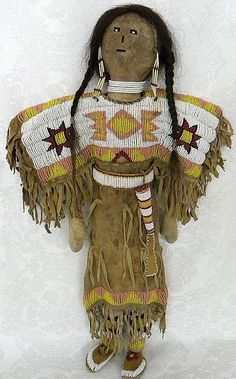 Antique Large 20 Inch Rawhide Native American Plains Indian Beaded Doll c 1900.