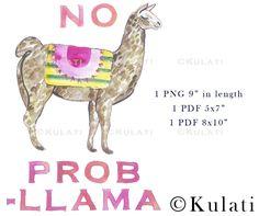 INSTANT DOWNLOAD preppy printable llama clip art funny