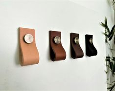 86.75.4Vegetable Tanned Leather Door Handles   Etsy Leather Wall, Leather Pouch, Tan Leather, Dresser Handles, Door Handles, French Door Curtains, Elegant Curtains, Cupboard Drawers, Small Notebook