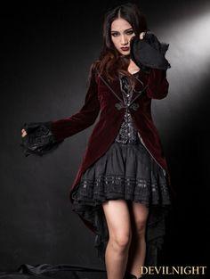 Wine Red Velvet Gothic Swallow-Tailed Coat for Women - Devilnight.co.uk
