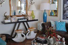 Ceramic #swan #garden #stools and #console display at #PalmBeach #Mecox #interiordesign #MecoxGardens #furniture #shopping #home #decor #design #room #designidea #vintage #antiques #Spitzmiller #lamp