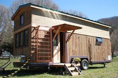 A 330 sq.ft. tiny house on wheels custom built for personal fitness trainers. The Fitness Nest was featured on HGTV's Tiny House Big Living.