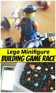 Lego Race Build Game Minifigure Building Activity Simple Lego Race Game Sensory Search, Find, and Bu Lego Party Games, Lego Parties, Games For Kids, Activities For Kids, Indoor Activities, Lego Therapy, Play Therapy, Lego Ninjago, Lego Minifigure