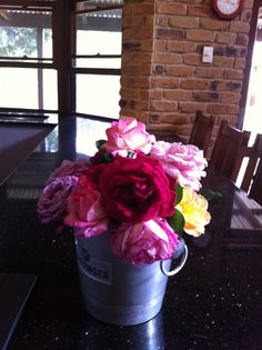Roses in an ice bucket