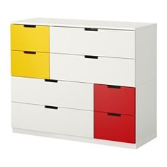 IKEA - NORDLI, Kommode mit 8 Schubladen, weiß rot/gelb, , Das Zuhause soll ein sicherer Ort für die ganze Familie sein. Deshalb ist ein Beschlag beigepackt, mit dem die Kommode an der Wand befestigt werden kann.Kann nach Wunsch und Gegebenheiten einzeln eingesetzt oder mit mehreren kombiniert werden.Kombinationen in verschiedenen Farben zeigen den individuellen Stil.Integrierte Stopper dämpfen den Schwung beim Zuschieben und sorgen für langsames, geräuschloses Schließen der Schubladen.In...