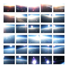 14x11 in. Georgie Friedman Flight VI, Ascent III (Flares). This photographic grid is from Flight Series, a process and time-based photographic series. The structured grid places less importance on individual images and emphasizes the compiled representations of time, unpredictable occurrences and the flight progression of the uncontrolled high-altitude balloons;For the sixth high-altitude balloon flight, my collaborators and I decided to launch the balloon before dawn, in order to record…