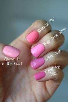 Essie Bubble Gum Pinks Comparison : Groove Is In the Heart, Knockout Pout, Lovie Dovie, Boom Boom Room & Forget Me Nots Essie Nail Colors, Essie Nail Polish, Nail Polish Colors, Pink Nails, Red Polish, Pink Nail Colors, Nail Polishes, Gel Nail, Uv Gel