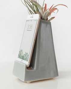 Stak Ceramics Gray Vase Phone Dock