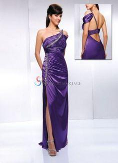 Robe couleur violet bretelle design ceinture jupe longue fente robe de soirée en satin