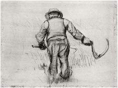 Vincent van Gogh Drawing, Black chalk Nuenen: August, 1885 Kröller-Müller Museum Otterlo, The Netherlands, Europe F: 1322v, JH: 865 Image Only - Van Gogh: Peasant with Sickle, Seen from the Back