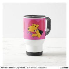 Airedale Terrier Dog Valentine's Day Travel Mug